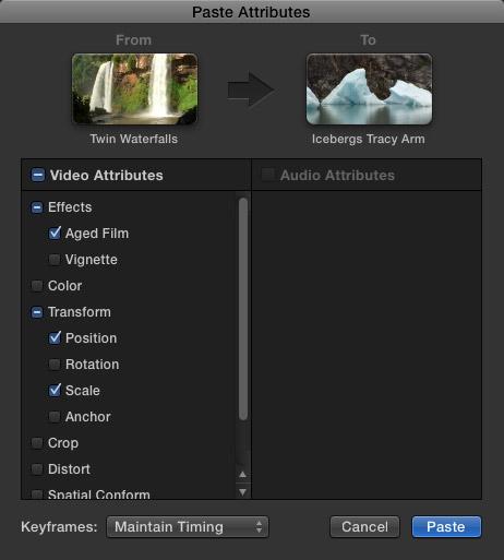 Final Cut Pro X Paste Attributes