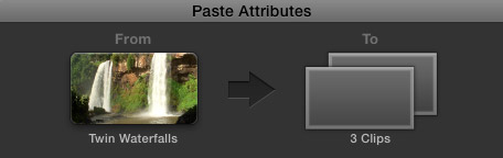 Apply Paste Attributes in Final Cut Pro X 10.0.6