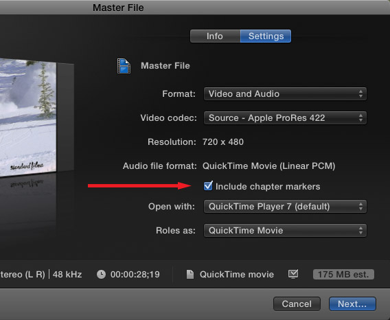 Include chapter markers when you export your project in Final Cut Pro X 10.0.6