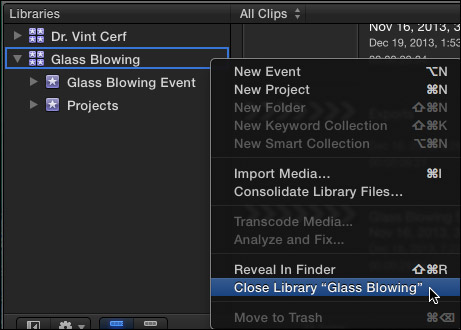 fcpx how to delete a library