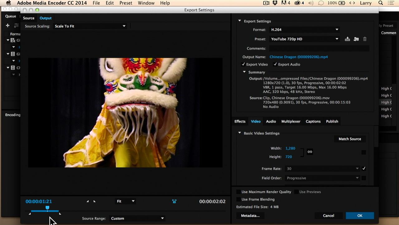compress video using adobe media encoder