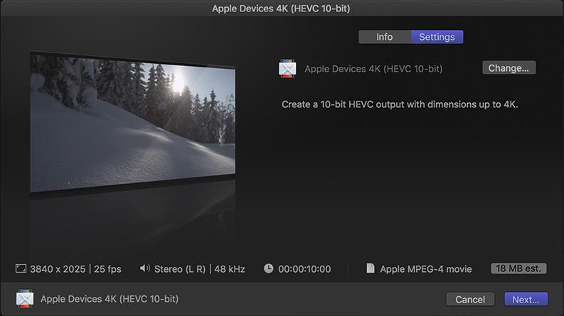Configure Final Cut Pro X to Output HEVC (H 265) | Larry Jordan