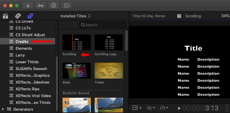 Final Cut Pro X Create Scrolling Credits Larry Jordan